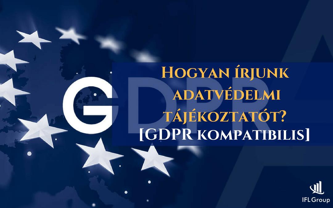 GDPR kompatibilis adatvédelmi tájékoztatót