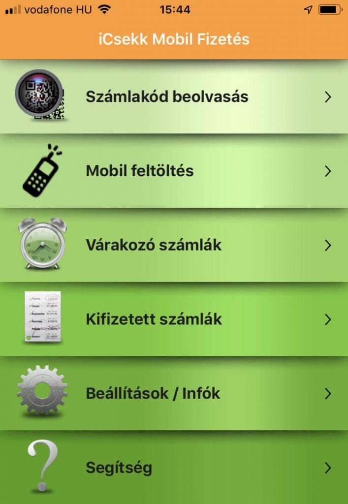 iCsekk kezdőoldal az applikációban