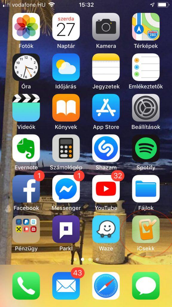 iCsekk applikáció IOS Apple iPhone-ra